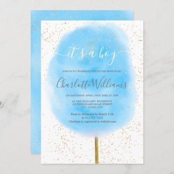 Cotton Candy Glitter Blue Watercolor Baby Shower Invitation