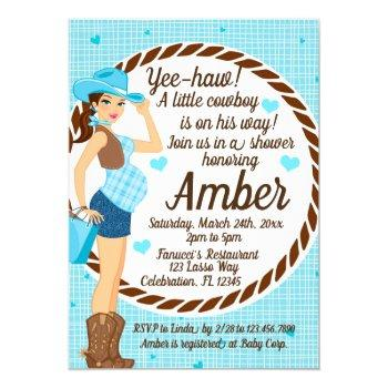 Country Cowgirl Baby Boy Shower Invitation