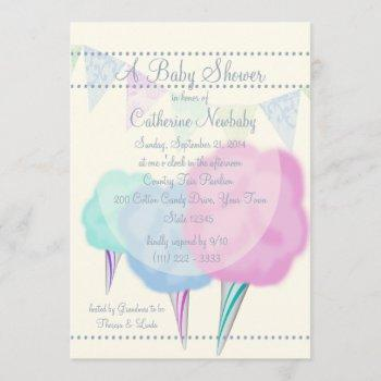 Country Fair Cotton Candy Baby Shower Invitation