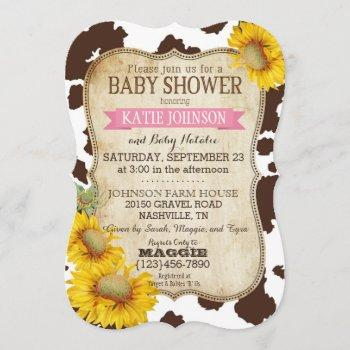 Country Sunflowers And Cow Print Baby Shower