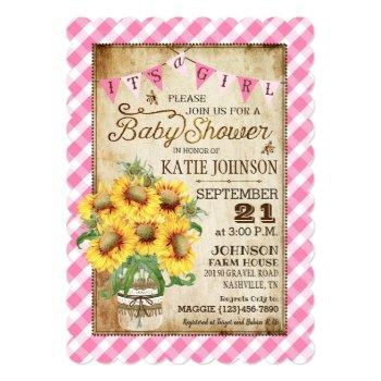 Country Sunflowers Gingham Check Girl Baby Shower Invitation