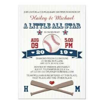 Couples All Star Baseball Baby Shower Invitation