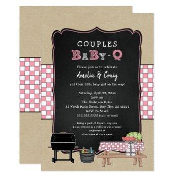 Couples Baby Q, Girl Bbq Baby Shower Invitation