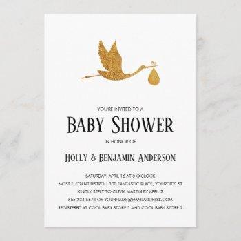 Couples Baby Shower Faux Gold Foil Stork W/ Bundle