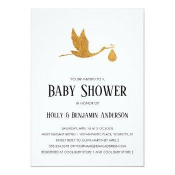 Couples Baby Shower Faux Gold Foil Stork W/ Bundle Invitation
