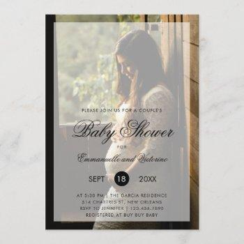 Couples Baby Shower Gender Neutral Photo Invitation