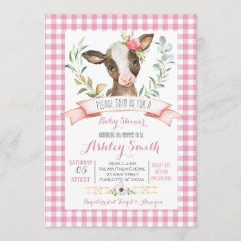 Cow Farm Baby Shower Invitation Pink Girl