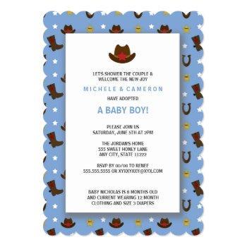 Cowboy Adoption Baby Shower Invite
