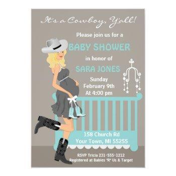Cowboy Baby Shower Invitation - Blonde Western