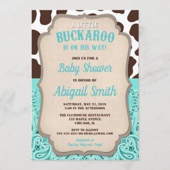 Cowboy Little Buckaroo Teal Brown Boy Baby Shower