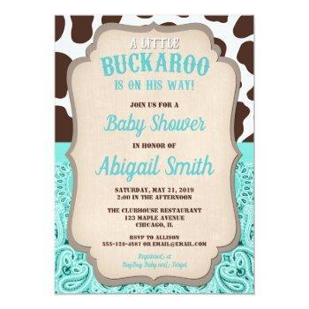 Cowboy Little Buckaroo Teal Brown Boy Baby Shower Invitation
