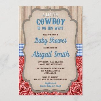 Cowboy Western Blue Red Bandana Rustic Baby Shower