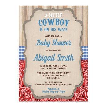 Cowboy Western Blue Red Bandana Rustic Baby Shower Invitation