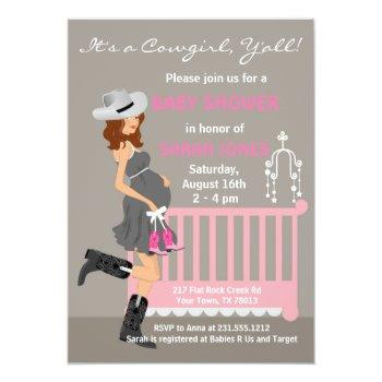 Cowgirl Baby Shower Invitations - Brunette Western