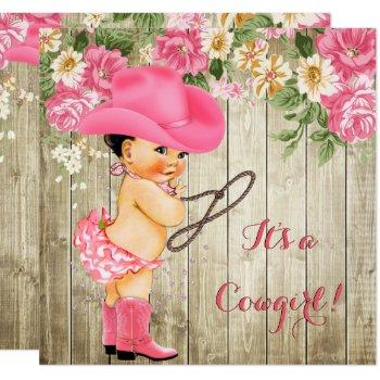 Cowgirl Baby Shower Pink Boots Floral Brunette Invitation