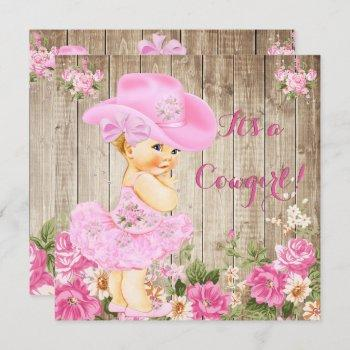 Cowgirl Baby Shower Pink Rustic Wood Girl Blonde