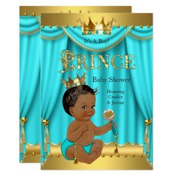 Crown Prince Baby Shower Gold Aqua Teal Ethnic Invitation