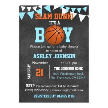 Custom Blue Boy Basketball Baby Shower Invitations