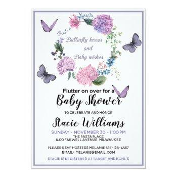 Customize Butterfly Kisses Baby Shower Invitation