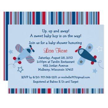 Cute Airplane Baby Shower Invitation