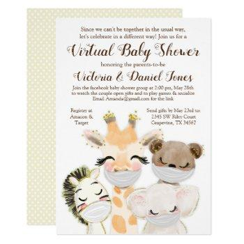 Cute Animals With Masks Drive Through Baby Shower Invitation