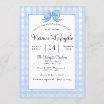 Cute Baby Blue Gingham With Bow Baby Shower