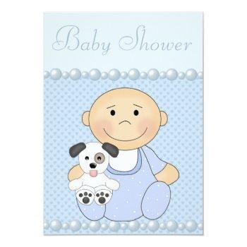 Cute Baby Boy & Puppy Blue Baby Shower Invitation