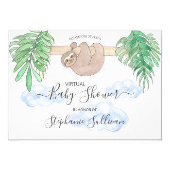 Cute Baby Boy Sloth Virtual Baby Shower Invitation