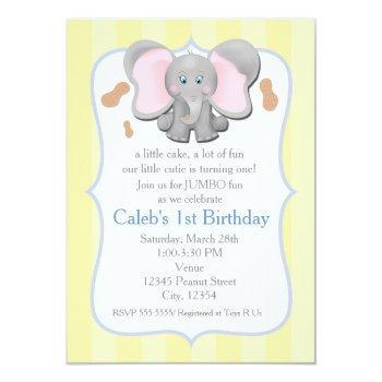 Cute Baby Elephant Birthday Or Shower Invitation