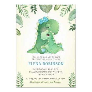 Cute Baby Mommy Dinosaur Boy Baby Shower Sprinkle Invitation