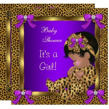 Cute Baby Shower Baby Girl Leopard Purple Gold 2 Invitation