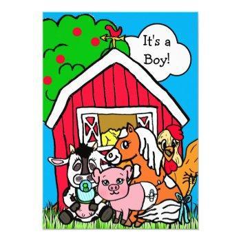 Cute Barn Yard Animals Farm Themed Baby Shower Invitation