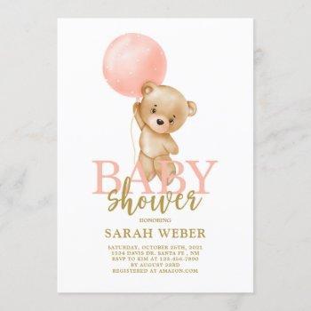 Cute Bear Balloon Baby Shower Girl Invitation