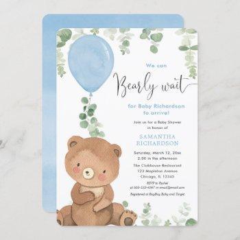 Cute Bear Blue Balloon Greenery Boy Baby Shower