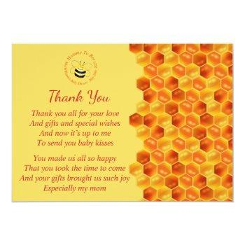 Cute Bee Themed Baby Shower Thank You Invitation