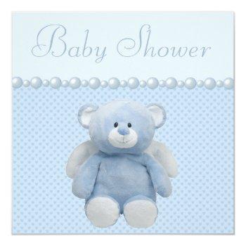Cute Blue Angel Teddy Bear Baby Boy Shower Invitation