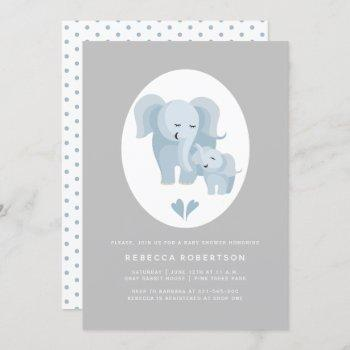 Cute Blue-grey Elephant Mother And Baby Boy Shower Invitation
