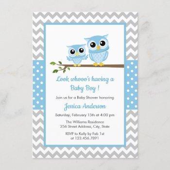 Cute Blue Owl Gray Chevron Boy Baby Shower Invitation