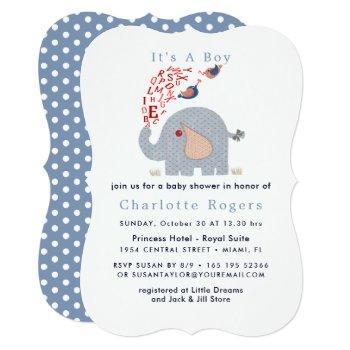 Cute Blue Red Alphabet Elephant Baby Boy Shower Invitation