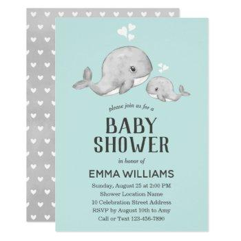 Cute Blue Whale Baby Shower Invitation - Boy