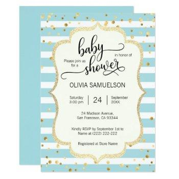Cute Blue White Stripes Gold Boy Baby Shower Invitation