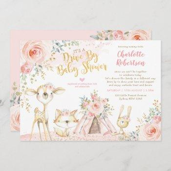 Cute Boho Woodland Drive By Girl Baby Shower Invitation