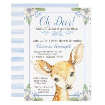 Cute Boy Deer Baby Shower Invitations