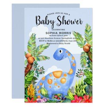 Cute Boy Watercolor Dinosaur Modern Baby Shower Invitation