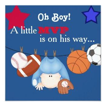 Cute Boys Sports Baby Shower Invitation