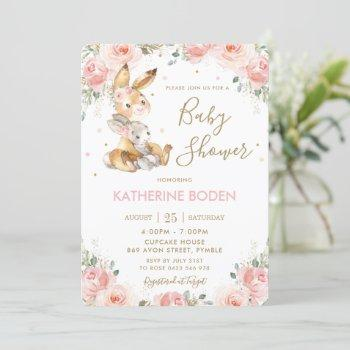 Cute Bunny Rabbit Blush Pink Floral Baby Shower