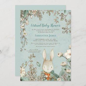 Cute Bunny Vintage Botanical Virtual Baby Shower Invitation