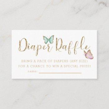 Cute Butterfly Baby Shower Diaper Raffle Ticket Enclosure Card