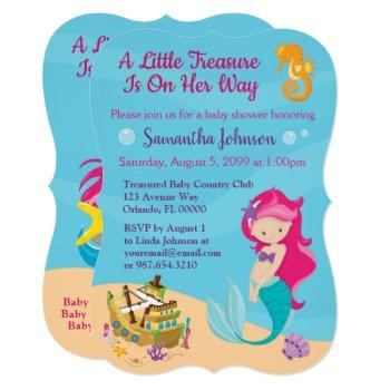 Cute Cartoon Character Mermaid Baby Shower Design Invitation