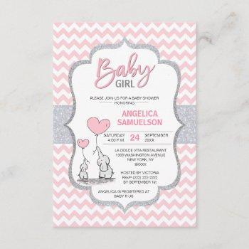 Cute Chevron Pink Grey Elephant Baby Shower Girl Invitation